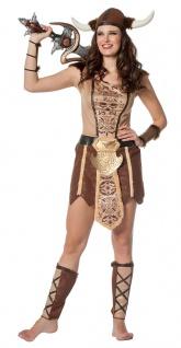 Wikinger Kostüm Damen Wikingerin mit Helm Damenkostüm Karneval Fasching KK