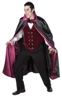Vampir Dracula Kostüm HerrenKostüm Halloween Karneval Herren Vampirumhang lila