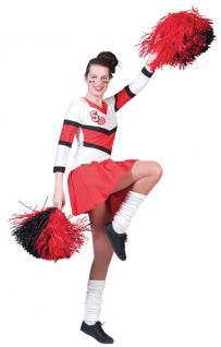 Cheerleader Kostüm Damen Uniform rot-weiß Damenkostüm Karneval Fasching KK