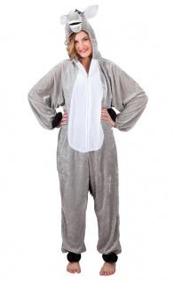Esel Kostüm Damen Plüsch Esel-Jumpsuit grau Karneval Tier Damenkostüm Fasching K