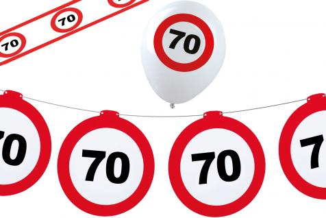 Geburtstag-s Party Set Dekoset Dekoration 70 Jahre Girlanden Ballons Absperrband