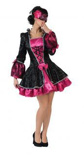 Viktorianisches Kleid Damen Barock Renaissance Damen-Kostüm pink schwarz kurz KK