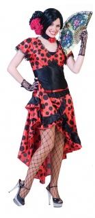 Flamenco Kostüm Damen Spanierin Kleid Tänzerin rot schwarz Fasching Karneval KK