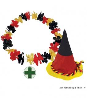 Fan Hut Deutschland Fußball EM WM 2021 mit Hawaiikette Fan schwarz rot gold KK