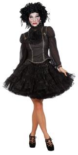 Gothic Bluse schwarz Karneval Damen-Kostüm KK
