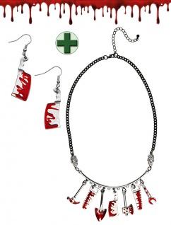 Halloween Schmuck Kette und Ohrringe Blut Halskette Ohrringe blutige Werkzeuge K
