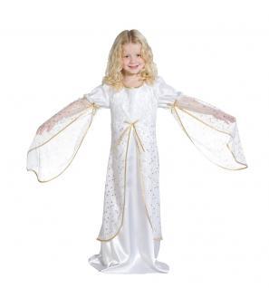 Engelskostüm Engel Kostüm Kinder Kinderkostüm Kleid mit Sternen weiß-gold KK