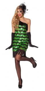 Charleston Kostüm 20er Jahre Kleid Damen Flapper mit Pailletten grün schwarz KK
