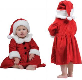 Weihnachtskostüm Baby Mädchen-Kostüm Weihnachtskleid mit Weihnachtsmütze KK