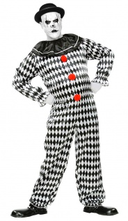Pierrot Kostüm Herren Narren schwarz weiß Herrenkostüm Fasching Karneval KK