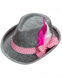 Seppl Hut Trachten Hut Bayern Hut Tiroler Hut Oktoberfest grau pink Hut KK