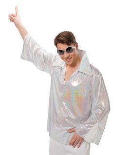 Disco-Hemd Schlagerhemd 80er Jahre Hemd silber Herrenhemd Herren-kostüm KK