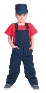 Bauarbeiter Kostüm Latzhose blau Kinderkostüm Jungen Mädchen Karneval Fasching K