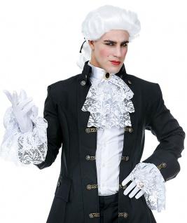 Jabot aus Spitze weiß mit 2 Manschetten Edelstein für Rokoko Graf Dracula KK