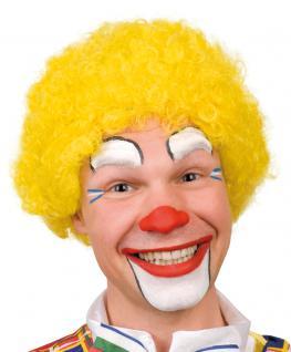 Karneval Klamotten Kostüm Perücke Clown Locken gelb Zubehör Zirkus Karneval