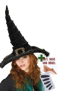 Hexen-Kostüm Zubehör Fingernägel Nase mit Warze Schwarzer Hexenhut Halloween KK