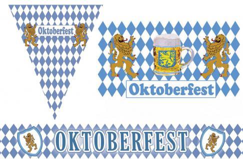 Oktoberfest Raumdeko Deko 3-tlg. Party Set Bayern blau-weiß Wimpel/Girlande
