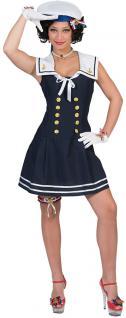 Matrosen Marine Kostüm Damen sexy Matrosin blau weiß Anker Fasching Karneval KK