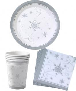 Silvester Geschirr Tisch-Deko silber Weihnachten Papp-Teller Becher Servietten