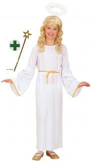 Engel Kostüm Kinder Engelskleid lang Weihnachten Mädchen Heiligenschein Stab KK