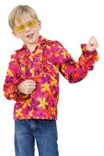 Schlager Disco Kostüm Schlagerhemd Kinder gelb orange bunt Blumen KK