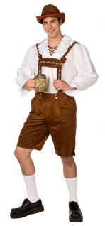 Oktoberfest Lederhose Herren Kostüm Bayern + Hemd Luxus Trachten Herrenkostüm KK