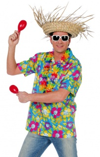 Hawaii Kostüm Herren Hawaiihemd bunt Aloha-Shirt Blumen Sommerparty Karneval KK