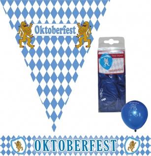 Oktoberfest Deko Raum Dekoration Party Bayern Wimpelkette Ballons Raute 14 tlg K