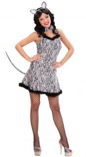 Zebra Kostüm Damen sexy Zebra-Kleid kurz Haarreif Zebra Karneval Damen-Kostüm KK