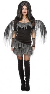 Schwarzer Engel Kostum Damen Engel Schwarz Grau Flugeln Damenkostum