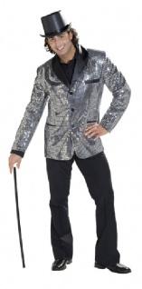 Pailletten Jacke silber Herren Kostüm Disco Karneval Fasching KK