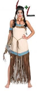 Indianer Squaw Damen-Kostüm Indianerin Kostüm Pocahontas beige blau Stirnband KK