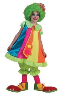 Kostüm Clown Kinder Mädchen neon-bunt Clownkostüm Kinderkostüm Fasching KK