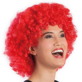 Karneval Klamotten Kostüm Perücke Afro rot Zubehör Disco Karneval