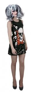 Horror Kostüm Damen sexy Tag der Toten Skelett Totenköpfe Halloween Fasching KK