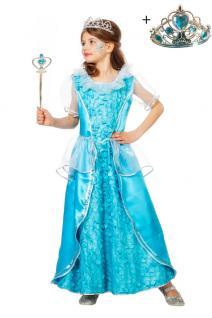 Kinder Geburtstag Party Kostüm Set: Eisprinzessin Kleid INKL. Krone + Zauberstab