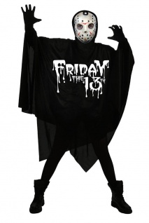 Jason Kostüm Vorhees Herren Freitag 13 Umhang Maske Horror Halloween Fasching KK