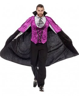 Vampir Kostüm Herren Umhang schwarz lila Luxus Graf Dracula Halloween Fasching K