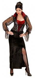 Vampir Kostüm Damen schwarz rot langes Vampirkleid mit Ärmeln aus Spitze KK