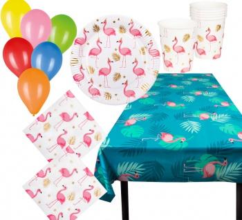 Flamingo Party Deko Geschirr 25 Tlg Teller Becher Servietten Tischdecke Ballons
