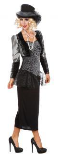 Viktorianisches Kleid silber schwarz Barock Kostüm Damen Karneval Damen-Kostüm K