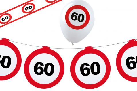 Geburtstag-s Party Set Dekoset Dekoration 60 Jahre Girlanden Ballons Absperrband
