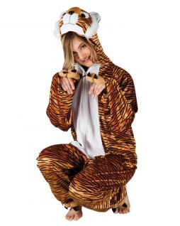 Tiger Kostüm Damen Bageera Plüsch Tiger-Overall Tier-Kostüm Damen-Kostüm KK