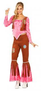 Hippie Kostüm Flower Power 60 70er Jahre Hose Oberteil braun rosa Damen KK