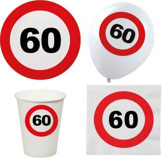 Party Set XL 44 Teile Geburtstag 60 Jahre Verkehrsschild