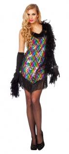 Disco Kostüm Damen 70er Jahre Star Queen Fever Pailletten-Kleid Party Karneval K