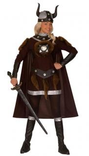 Wikinger Kostüm Damen Nordmann Barbarin Umhang Wikingerhelm Viking Fasching KK