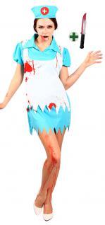 Zombie Kostüm Damen blutige Krankenschwester mit Messer Halloween Damenkostüm KK