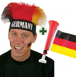 Tröte Fan Fußball-Tröte mit Deutschland Flagge Perücke Deutschland Fan-Artikel