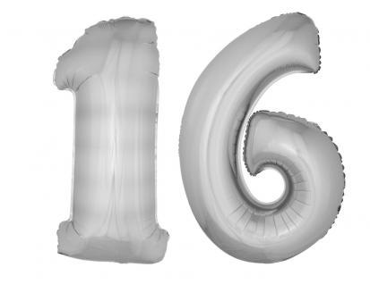 Folienballons Luftballon-SetXXL Zahl Geburtstag 16 Jahre silber Party Dekoration - Vorschau